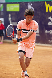 June 17, 2018 - L'Aquila, Italy - Zhizhen Zhang during match between Zhizhen Zhang (CHN) and Giorgio Portaluri (ITA) during day 2 at the Internazionali di Tennis Citt dell'Aquila (ATP Challenger L'Aquila) in L'Aquila, Italy, on June 17, 2018. (Credit Image: © Manuel Romano/NurPhoto via ZUMA Press)