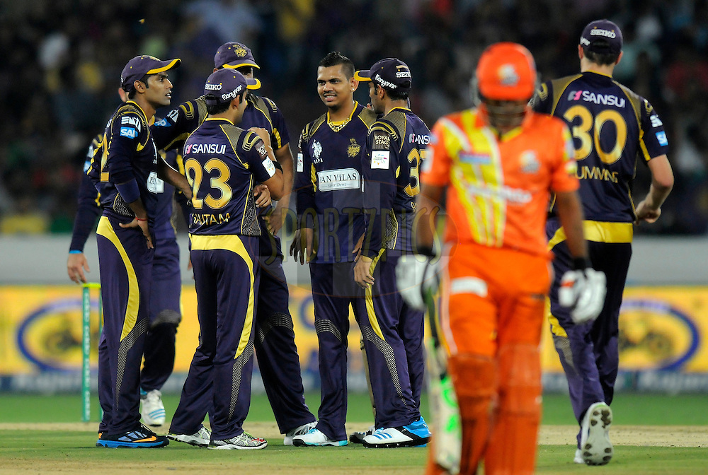 Sunil Narine of Kolkata Knight Riders celebrates the wicket of Umar Siddique of Lahore Lions during match 7 of the Oppo Champions League Twenty20 between the Kolkata Knight Riders and the Lahore Lions held at the Rajiv Gandhi Cricket Stadium, Hyderabad, India on the 21st September 2014<br /> <br /> Photo by:  Pal Pillai / Sportzpics/ CLT20<br /> <br /> <br /> Image use is subject to the terms and conditions as laid out by the BCCI/ CLT20.  The terms and conditions can be downloaded here:<br /> <br /> http://sportzpics.photoshelter.com/gallery/CLT20-Image-Terms-and-Conditions-2014/G0000IfNJn535VPU/C0000QhhKadWcjYs