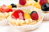 Dessert made of fruit over a voulavent pastry. Volauvent is a tiny round canape made of puff pastry. The term ' vol au vent ' means ' blown by the wind ' in French.