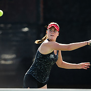 10 November 2017:  The San Diego State Aztecs women's tennis team hosts it's annual Fall Classic II. Jennifer Moinard seen here returning a volley during a doubles match Friday.<br /> www.sdsuaztecphotos.com