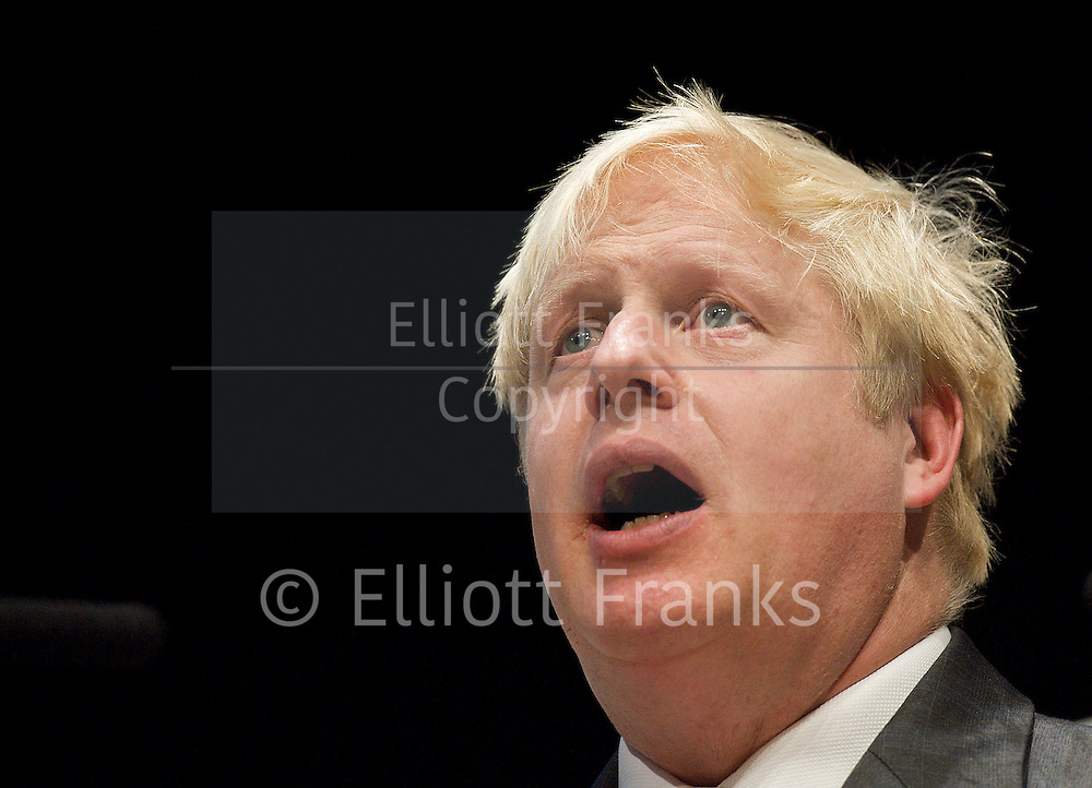 Conservative Party Conference, ICC, Birmingham, Great Britain <br /> Day 2<br /> 8th October 2012 <br /> <br /> Boris Johnson <br /> Mayor of London <br /> Conservative Home fringe meeting <br /> <br /> <br /> Photograph by Elliott Franks<br /> <br /> <br /> Tel 07802 537 220 <br /> elliott@elliottfranks.com<br /> <br /> ©2012 Elliott Franks<br /> Agency space rates apply