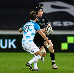 Ospreys' Sam Cross lines up Leinster's Jamison Gibson-Park<br /> <br /> Photographer Simon King/Replay Images<br /> <br /> Guinness PRO14 Round 19 - Ospreys v Leinster - Saturday 24th March 2018 - Liberty Stadium - Swansea<br /> <br /> World Copyright © Replay Images . All rights reserved. info@replayimages.co.uk - http://replayimages.co.uk