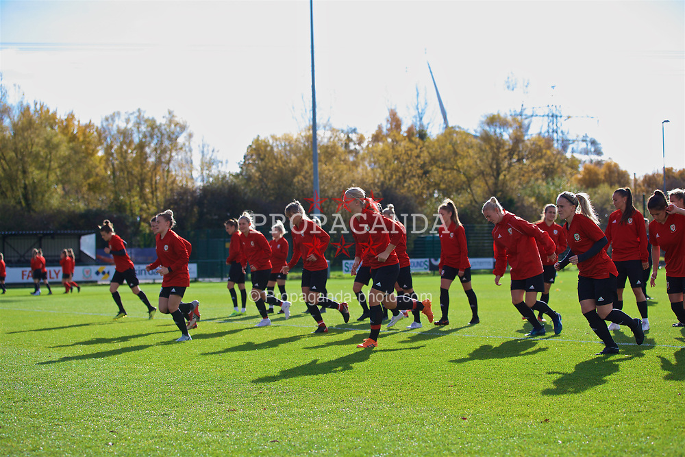 NEWPORT, WALES - Tuesday, November 6, 2018: Wales players during a training session at Dragon Park ahead of two games against Portugal. (Pic by Paul Greenwood/Propaganda)