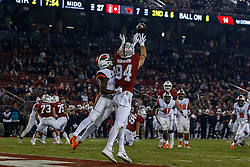 PALO ALTO, CA - NOVEMBER 10: Tight end Colby Parkinson #84 of the Stanford Cardinal catches a pass for a touchdown in front of cornerback Shawn Wilson #2 of the Oregon State Beavers during the second quarter at Stanford Stadium on November 10, 2018 in Palo Alto, California. (Photo by Jason O. Watson/Getty Images) *** Local Caption *** Colby Parkinson; Shawn Wilson