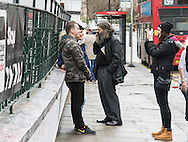 "Fans chat outside Abbey Road studios in Maida Vale, London, following the death of ""Fifth Beatle"" Sir George Martin, aged 90. <br /> Picture by Paul Davey/Focus Images Ltd +447966 016296<br /> 09/03/2016"