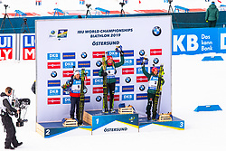 March 10, 2019 - –Stersund, Sweden - 190310 Tiril Eckhoff of Norway, Denise Herrmann and Laura Dahlmeier of Germany celebrates after the Women's 10 km Pursuit during the IBU World Championships Biathlon on March 10, 2019 in Östersund. 10, 2019 in Östersund..Photo: Johan Axelsson / BILDBYRÃ…N / Cop 245 (Credit Image: © Johan Axelsson/Bildbyran via ZUMA Press)