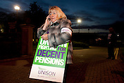 Sue Highton joins Unison members on the TUC Day of Action 30th November, Grenoside Grange Hospital, Sheffield .
