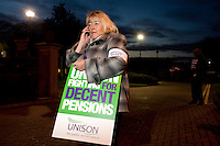 Sue Highton joins Unison members on the TUC Day of Action 30th November, Grenoside Grange Hospital, Sheffield ..© Martin Jenkinson, tel 0114 258 6808 mobile 07831 189363 email martin@pressphotos.co.uk. Copyright Designs & Patents Act 1988, moral rights asserted credit required. No part of this photo to be stored, reproduced, manipulated or transmitted to third parties by any means without prior written permission