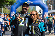 AJ Bouye (21) Jacksonville Jaguars parents outside wembley to support their son of the during the International Series match between Baltimore Ravens and Jacksonville Jaguars at Wembley Stadium, London, England on 24 September 2017. Photo by Jason Brown.