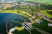 Nederland, Noord-Holland, Amsterdam, 27-09-2015; Schellingwoude, Oranjesluizen tussen Buiten-IJ en Het IJ. Zicht op Nieuwendam en landelijk Noord.<br /> Locks between Outer IJ  and The IJ, entrance to Amsterdam.<br /> <br /> luchtfoto (toeslag op standard tarieven);<br /> aerial photo (additional fee required);<br /> copyright foto/photo Siebe Swart