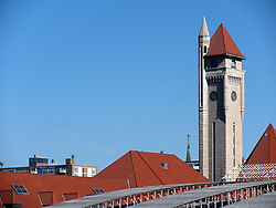 20 October 2010: The clock tower and different roofing materials and techniques make the St. Louis Union Station a unique attraction.  St. Louis Missouri