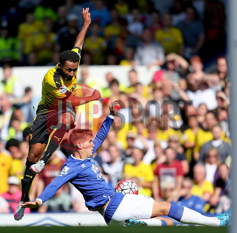 Everton's John Stones blocks a shot from Watford's Ikechi Anya - Mandatory byline: Matt McNulty/JMP - 07966386802 - 08/08/2015 - FOOTBALL - Goodison Park -Liverpool,England - Everton v Watford - Barclays Premier League
