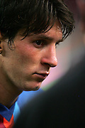 A dejected Lionel Messi after the Joan Gamper Trophy match between Barcelona and Manchester City at the Camp Nou Stadium on August 19, 2009 in Barcelona, Spain. Manchester City won the match 1-0.