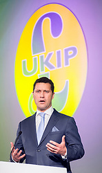 **FILE PIC - Steven Woolfe has been reportedly taken to hospital after collapsing at the European Parliament building in Strasbourg**<br /> © Licensed to London News Pictures. 26/09/2014. Doncaster, UK. Steven Woolfe MEP with a speech on Migration.  The UKIP conference at Doncaster Racecourse Friday 26th September 2014. Photo credit : Stephen Simpson/LNP