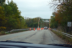 24 October 2017:  Highway construction on a steel girder bridge over the Wabash River.<br /> <br />  Parke County Indiana is the site of the Indiana Covered Bridge Festival every October