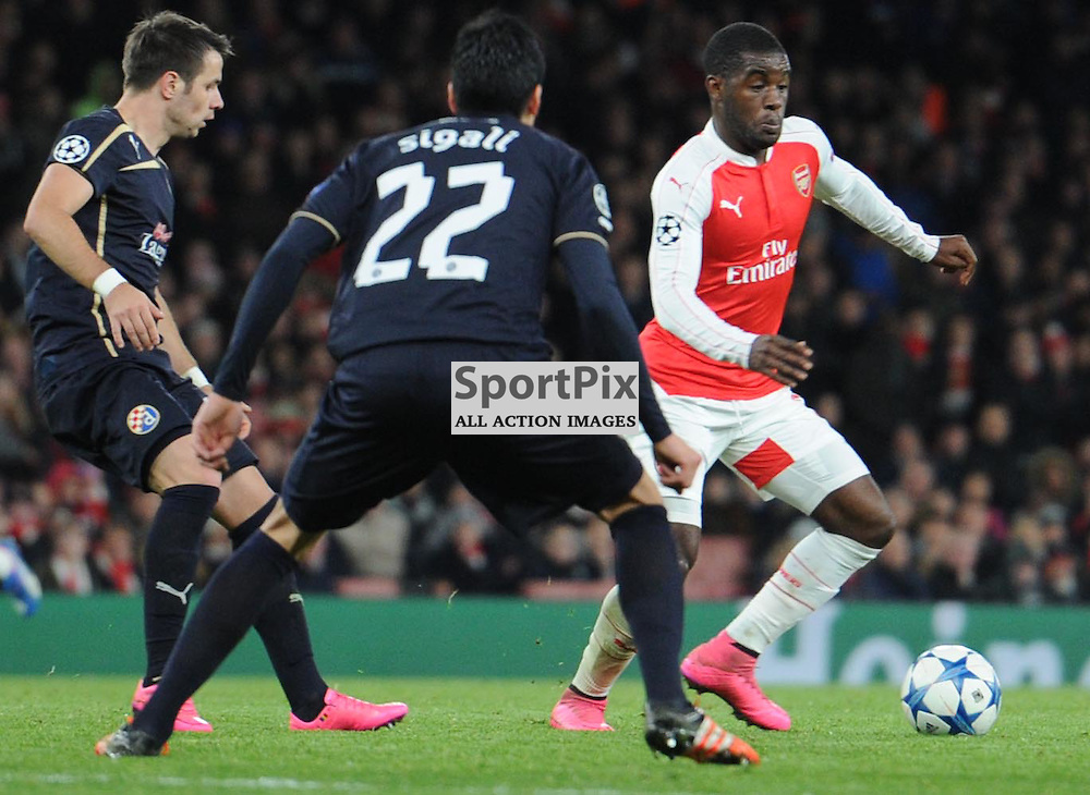 Arsenals Joel Campbell in action during the Arsenal v Dinamo Zagreb game in the UEFA Champions League on the 24th November 2015 at the Emirates Stadium.
