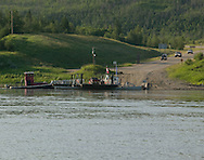 © 2008 Randy Vanderveen, all rights reserved.Grande Prairie, Alberta.The Shaftesbury ferry, one of two self-propelled ferries plying the waters of the mighty Peace River, has been busier this summer as motorists try to avoid the delays and bottlenecks resulting from construction on the Dunvegan Bridge to the west. The Peace River divides the region known as the Peace Country in northern Alberta and British Columbia into two.