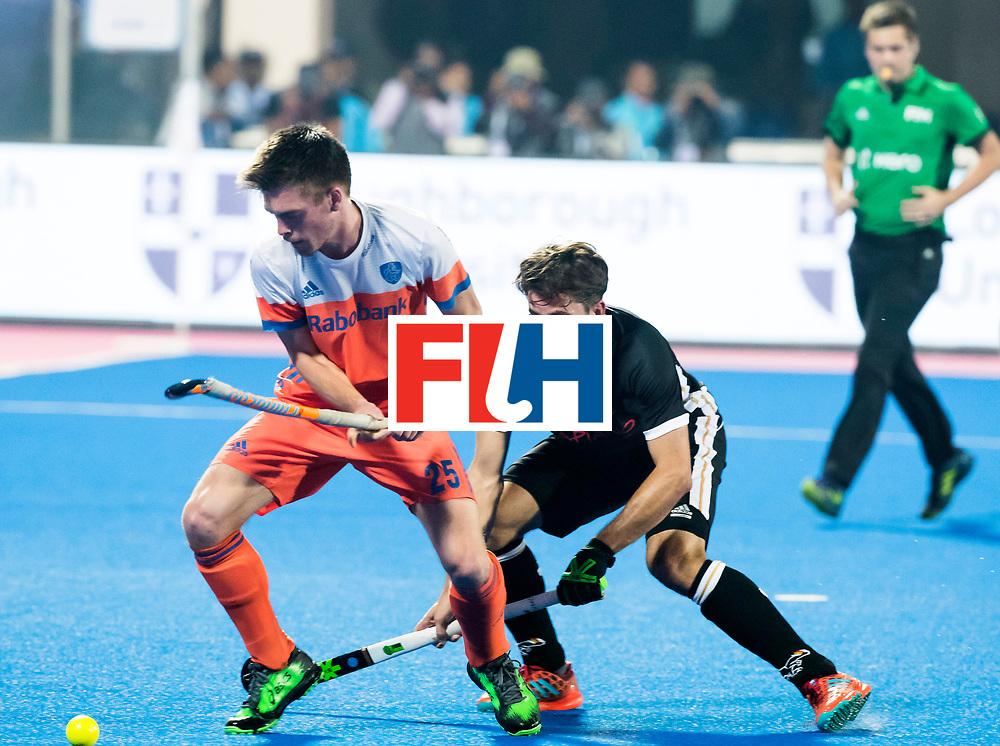 BHUBANESWAR - Thierry Brinkman (Ned) met Benedikt Fuerk (Ger) tijdens de Hockey World League Finals , de kwartfinale wedstrijd Duitsland-Nederland (3-3).Duitsland wint na shoot-outs.    COPYRIGHT KOEN SUYK