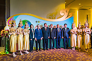 24 JUNE 2014 - BANGKOK, THAILAND: General THANASAK PATIMAPAKORN, Deputy Head of the National Council for Peace and Order (NCPO), the ruling Military junta in Thailand (center, red striped tie) and other conference hosts arrive at the 6th Asian Ministerial Conference on Disaster Risk Reduction (AMCDRR). The AMCDRR started in Bangkok on June 24. The first of the biennial conferences was held in Beijing in 2005 after the 2004 Asian Tsunami and H5N1 Bird Flu epidemic of 2004. The conference this year in Bangkok will focus on possible disasters related to climate change, sustainable development, and managing public private partnerships for disaster risk.     PHOTO BY JACK KURTZ
