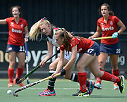 Surbiton's Naomi Evans under pressure from the SPV Complutense defence during their opening game of the EHCC 2017 at Den Bosch HC, The Netherlands, 2nd June 2017