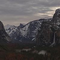 Yosemite Valley under a quarter moon at midnight. Yosemite National Park, CA