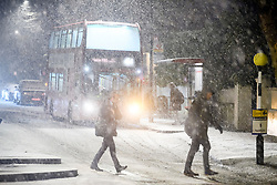 © Licensed to London News Pictures. 01/02/2019. London, UK. Commuters make their way to work in heavy snowfall in Maida Vale, West London as large parts of the UK are deluged with snow and freeing temperatures. Photo credit: Ben Cawthra/LNP
