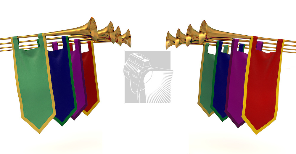 Medieval trumpets with banners on a white background
