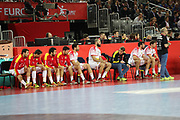 Bench of Spain during the EHF 2018 Men's European Championship, 1/2 final Handball match between France and Spain on January 26, 2018 at the Arena in Zagreb, Croatia - Photo Laurent Lairys / ProSportsImages / DPPI