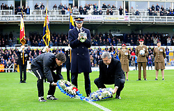 Bristol Rovers Manager, Darrell Clarke and chairman Nick Higgs lay wreaths in the centre circle - Photo mandatory by-line: Neil Brookman/JMP - Mobile: 07966 386802 - 15/11/2014 - SPORT - Football - Bristol - Memorial Stadium - Bristol Rovers v Kidderminster - Vanarama Football Conference
