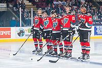 KELOWNA, CANADA - NOVEMBER 26: Calvin Thurkauf #27, Rodney Southam #17, Nick Merkley #10, Cal Foote #25 and Devante Stephens #21 of the Kelowna Rockets line up against the Regina Pats on November 26, 2016 at Prospera Place in Kelowna, British Columbia, Canada.  (Photo by Marissa Baecker/Shoot the Breeze)  *** Local Caption ***