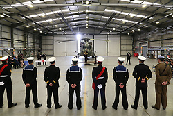 © Licensed to London News Pictures. 01/046/2018. RNAS Yeovilton, Somerset, UK. Royal Navy Merlin Helicopter pilots and aircrew await to recieve their wings .  Photo credit: JASON BRYANT /LNP