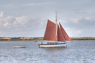 Gaff rigged cutter on the River Stour