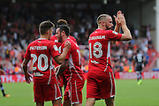 Bristol Aaron Wilbraham (18) celebrates his goal with the fans making it 1-1 during the EFL Sky Bet Championship match between Bristol City and Derby County at Ashton Gate, Bristol, England on 17 September 2016. Photo by Gary Learmonth.
