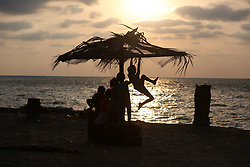 August 9, 2017 - Gaza City, Gaza Strip- Palestinian children play near the Beach Mediterranean Sea in Gaza City. (Credit Image: © Majdi Fathi/NurPhoto via ZUMA Press)