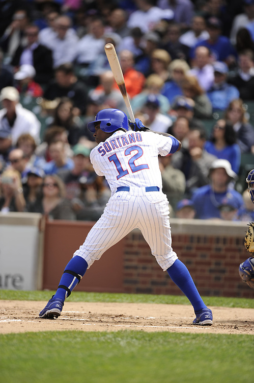 CHICAGO - MAY  04:  Alfonso Soriano #12 of the Chicago Cubs bats against the Los Angeles Dodgers on May 4, 2012 at Wrigley Field in Chicago, Illinois.  The Cubs defeated the Dodgers 5-4.  (Photo by Ron Vesely)   Subject:  Alfonso Soriano
