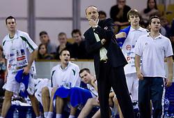 Head coach of Olimpija Jure Zdovc at basketball match of 4th Round of NLB League between KK Union Olimpija and KK Crvena zvezda,  on October 24, 2009, Arena Tivoli, Ljubljana, Slovenia.  Union Olimpija won 94:76.  (Photo by Vid Ponikvar / Sportida)