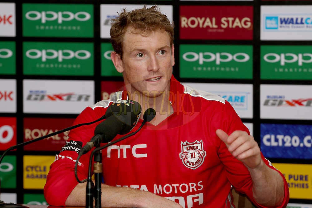 KXIP captain George Bailey during the press conference after match 2 of the Oppo Champions League Twenty20 between the Kings XI Punjab and the Hobart Hurricanes held at the Punjab Cricket Association Stadium, Mohali, India on the 18th September 2014. Photo by:  Jacques Rossouw / Sportzpics/ CLT20<br /> <br /> <br /> Image use is subject to the terms and conditions as laid out by the BCCI/ CLT20.  The terms and conditions can be downloaded here:<br /> <br /> http://sportzpics.photoshelter.com/gallery/CLT20-Image-Terms-and-Conditions-2014/G0000IfNJn535VPU/C0000QhhKadWcjYs