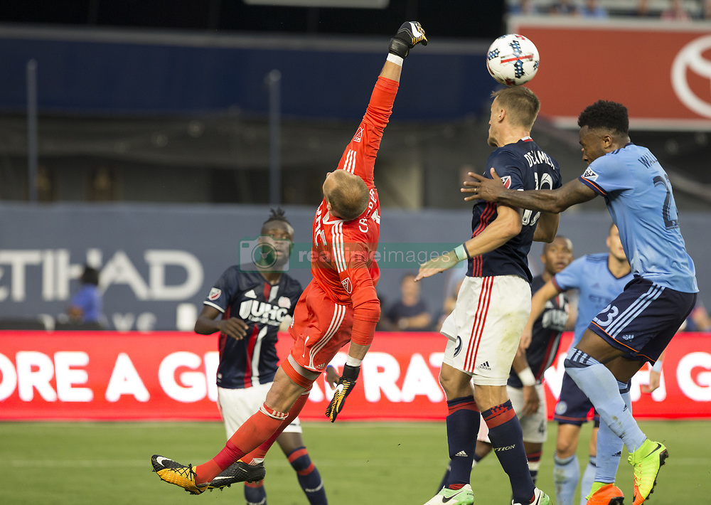August 20, 2017 - New York, New York, United States - Goalkeeper Cody Cooper (1) of New England Revolution deflects ball during regular MLS game against NYC FC on Yankee stadium NYC FC won 2 - 1 (Credit Image: © Lev Radin/Pacific Press via ZUMA Wire)