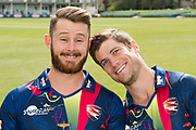 Adam Rouse and Sean Dickson of Kent laughing during the Kent County Cricket Club Headshots 2017 Press Day at the Spitfire Ground, Canterbury, United Kingdom on 31 March 2017. Photo by Martin Cole.