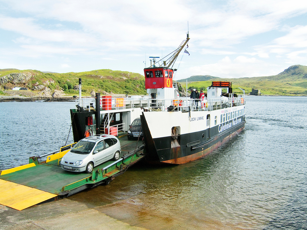 Tobermory, Mull, to Kilchoan car passenger ferry named Loch Linnhe seen at Kilchoan pier on the Ardnamurchan peninsula, Scotland