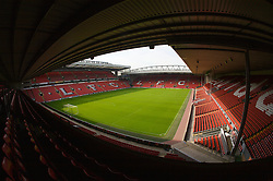 The view of the Anfield pitch from the Anfield Road Upper Stand, centre of Block 222.
