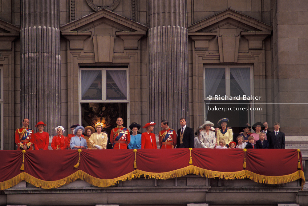 Members of the British Royal Family appear on the balcony of Buckingham Palace after the Queen's annual Trooping the Colour ceremony, on 15th June 1991, in London, England. Present are the Queen and the Queen Mother; the Duke of Edinburgh; Princess Margaret; Prince Charles and Diana Princess of Wales and Prince Andrew.