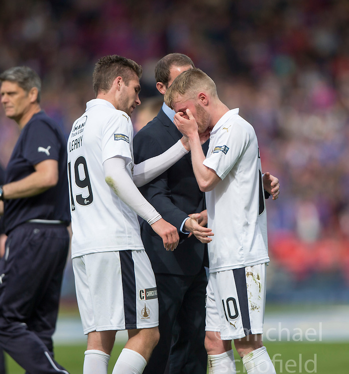Falkirk's Luke Leahy with Falkirk's Craig Sibbald at the end. Falkirk 1 v 2 Inverness CT, Scottish Cup final at Hampden.