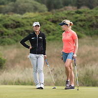 Picture by Christian Cooksey/CookseyPix.com . Standard repro rates apply. <br /> <br /> Aberdeen Asset Management Ladies Scottish Open at Dundonald Links, Irvine Ayrshire. <br /> <br /> World No2 Lydia Ko (left) and Charley Hull of England wait on the 11th green.