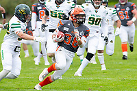 KELOWNA, BC - SEPTEMBER 22:  Kelton Kouri #38 of Okanagan Sun runs on the field with the ball against the Valley Huskers at the Apple Bowl on September 22, 2019 in Kelowna, Canada. (Photo by Marissa Baecker/Shoot the Breeze)