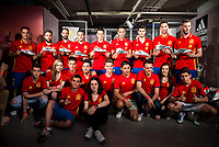 The left to the right, Lucas Vazquez, Jordi Alba, Juanfran, Koke, Azpilicueta, Bruno, Morata, Rico and De Gea during the opening of the corner of the Spanish team in its new Adidas Store Gran Vía in Madrid. June 05 2016. (ALTERPHOTOS/Borja B.Hojas)