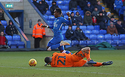 Siriki Dembele of Peterborough United skips past Kyle Letheren of Plymouth Argyle - Mandatory by-line: Joe Dent/JMP - 02/02/2019 - FOOTBALL - ABAX Stadium - Peterborough, England - Peterborough United v Plymouth Argyle - Sky Bet League One