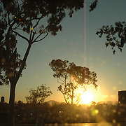 Sunrise shot through truck windshield at the top of El Cajon Blvd, San Diego.