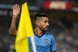 September 5, 2018 - Bronx, New York, United States - New York City midfielder MAXIMILIANO MORALEZ #10 sets up for a corner kick during a regular season match at Yankee Stadium in Bronx, NY.  New England Revolution defeats New York City FC 1 to 0 (Credit Image: © Mark Smith/ZUMA Wire)