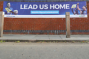 Lead us home banner on entrance to Kingsmeadow/ Cherry Red Records Stadium during the EFL Trophy (Leasing.com) match between AFC Wimbledon and U23 Brighton and Hove Albion at the Cherry Red Records Stadium, Kingston, England on 3 September 2019.
